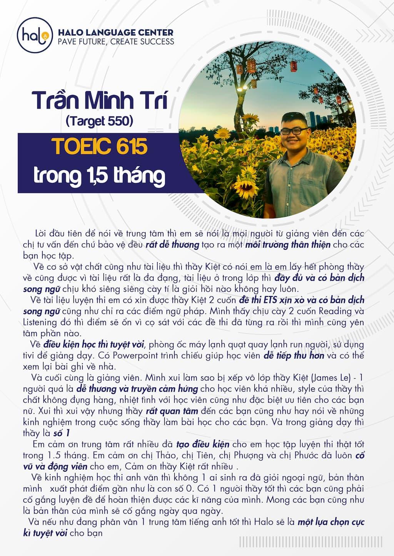 Đánh giá học viên Trần Minh Trívề chương trình luyện thi Toeic