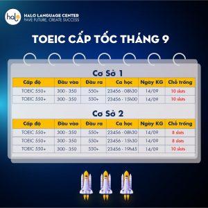 Lịch khai giảng khóa luyện thi TOEIC 550 Cấp tốc tháng 9
