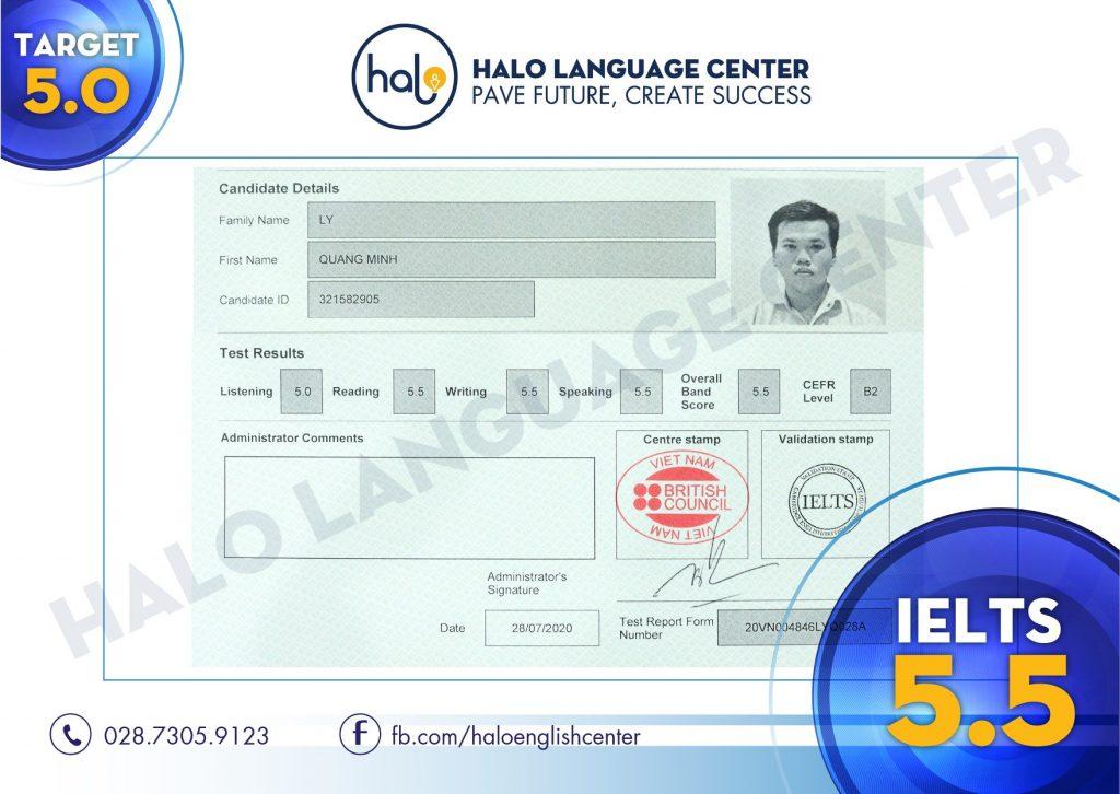 Lý Quang Minh đạt chứng chỉ IELTS 5.5