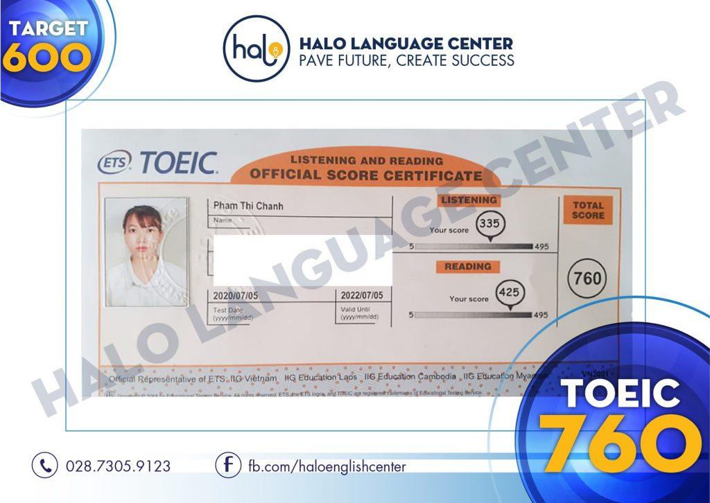 Chứng chỉ TOEIC 760 của bạn Phạm Thị Chánh