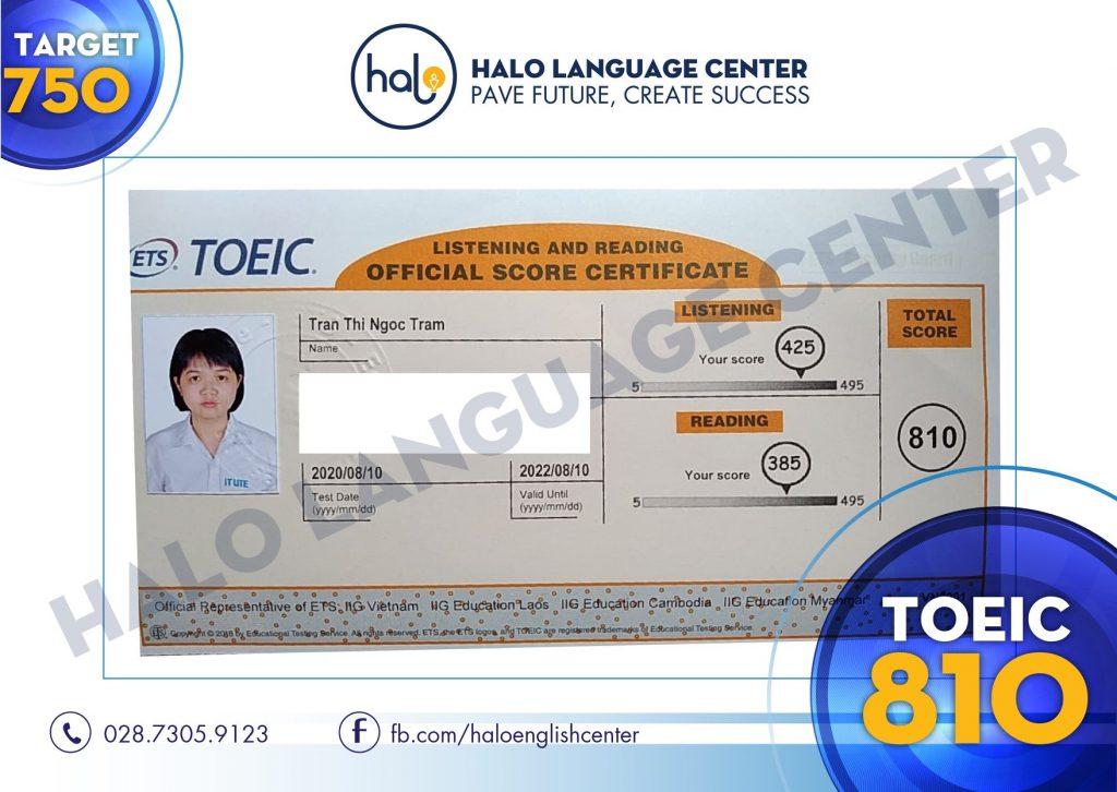 Chứng chỉ TOEIC 810 của Trần Thị Ngọc Trâm