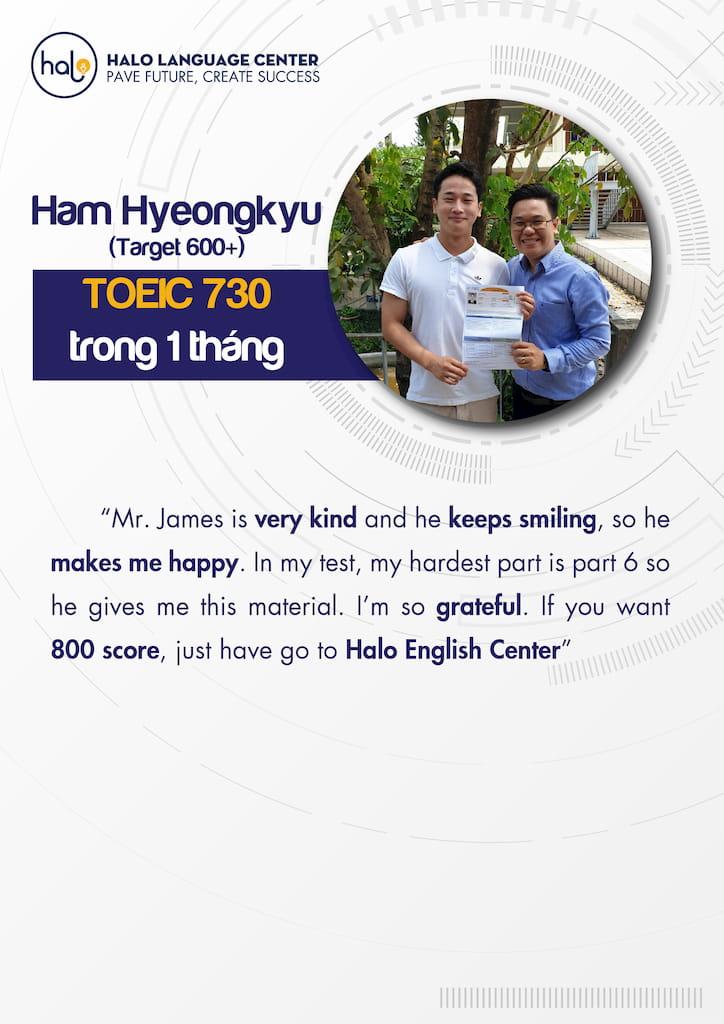 Ham Hyeongkyu đánh giá khóa học Toeic