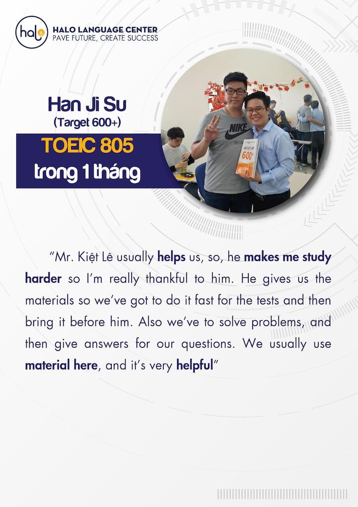 Han Ji Su đánh giá khóa học Toeic
