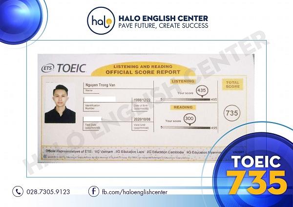 Chứng chỉ TOEIC 735 của học viên Nguyễn Trọng Văn
