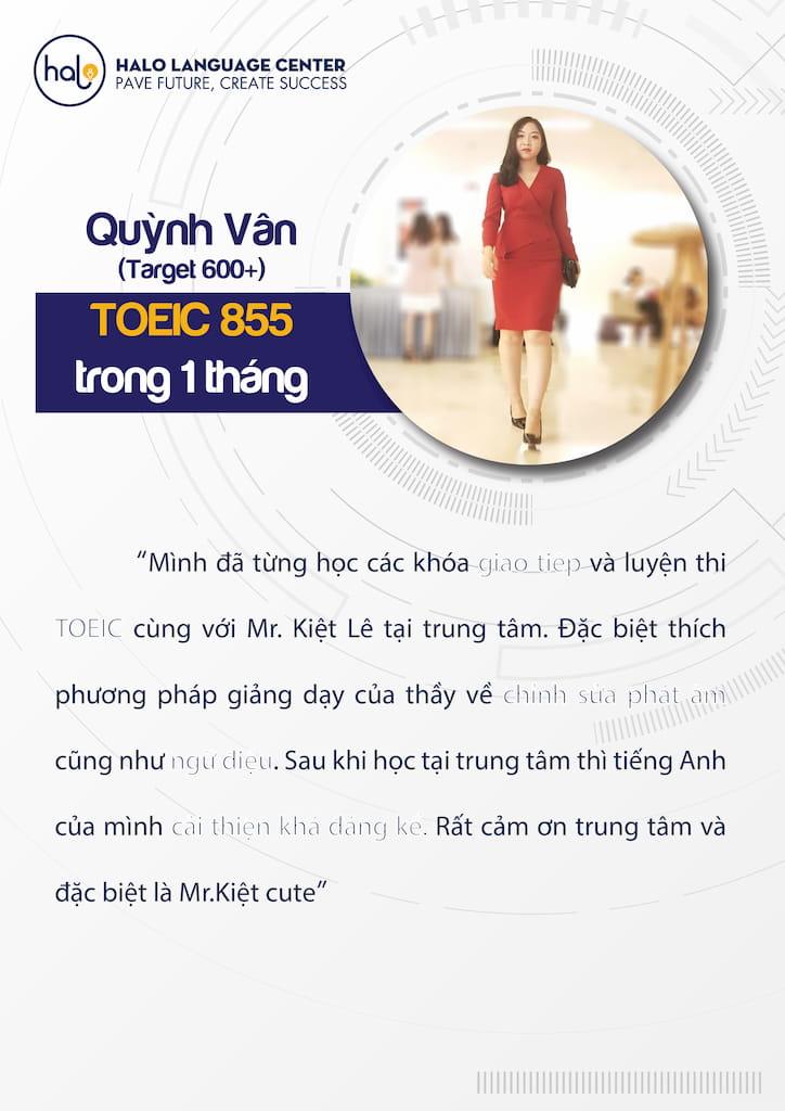 Quỳnh Vân đánh giá khóa học Toeic
