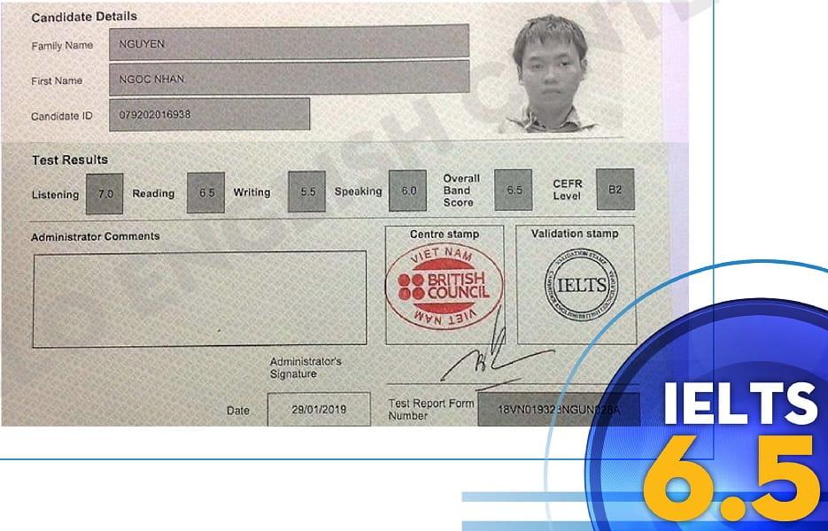 Chung chi IELTS 6.5 Nguyen Ngoc Nhan
