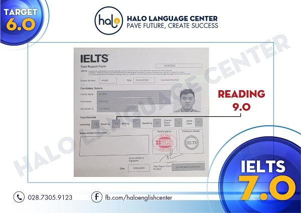 Chứng chỉ IELTS 7.0 Dương Anh Kiệt Xuất Sắc đạt 9.0 Reading