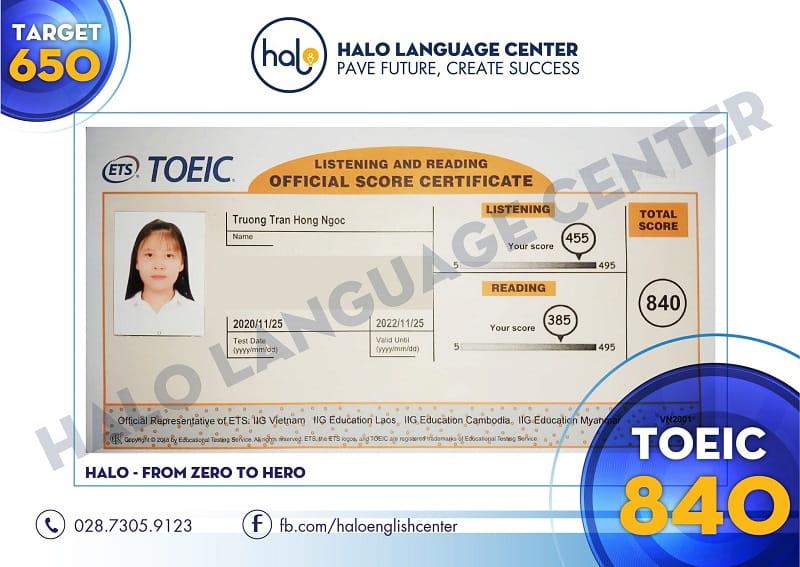 Chứng chỉ TOEIC 840 của học viên Hồng Ngọc