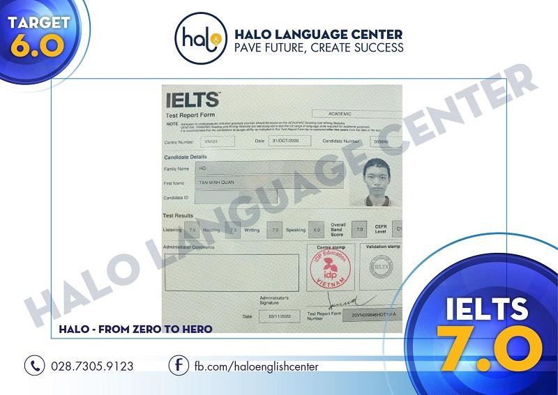 Chứng chỉ IELTS 7.0 của bạn Hồ Tấn Minh Quân
