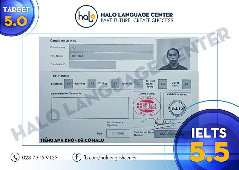 Hồ Tiến Đạt chứng chỉ IELTS 5.5
