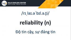 Từ Vựng TOEIC Reliability