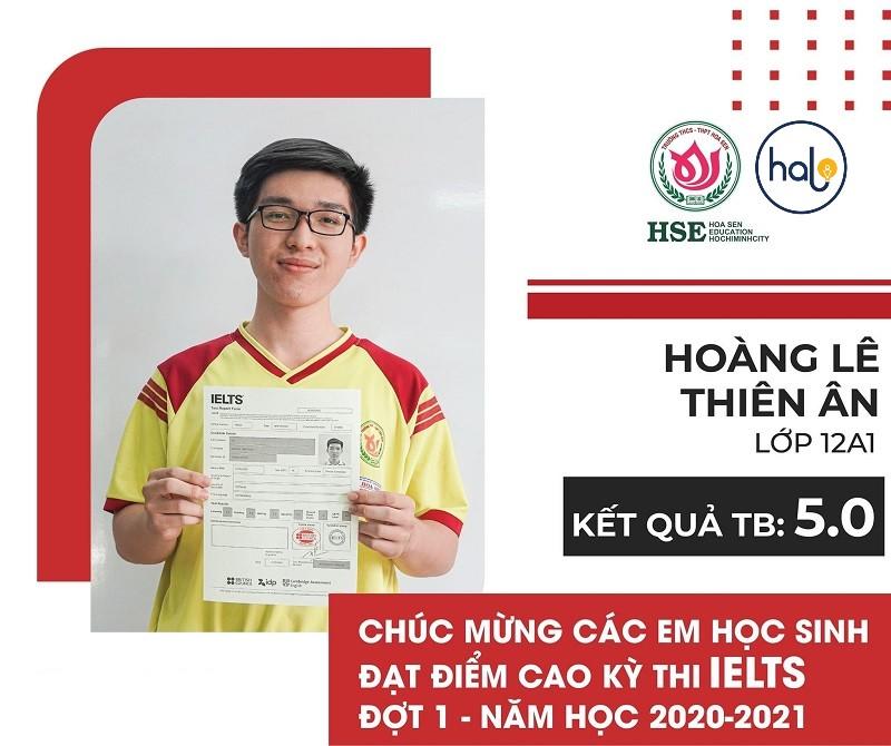 Hoàng Lê Thiên An lớp 12A1 đạt chứng chỉ IELTs 5.0