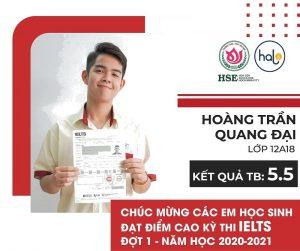 Hoàng Trần Quang Đại lớp 12A18 đạt chứng chỉ IELTS 5.5