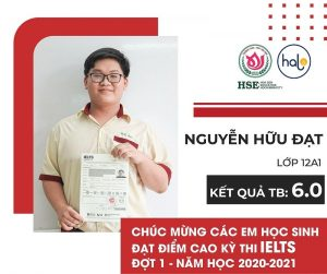Bạn Nguyễn Hữu Đạt lớp 12A1 đạt IELTS 6.0