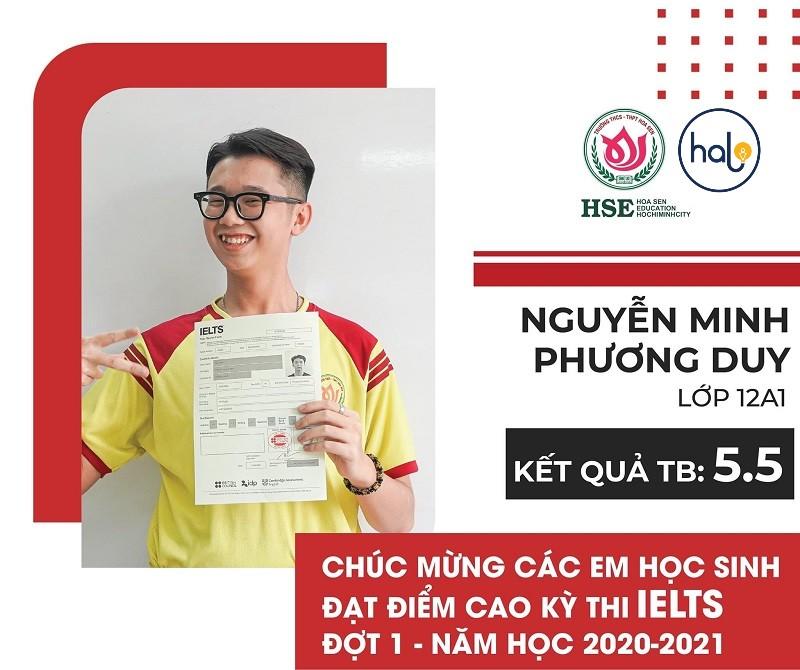 Bạn Nguyễn Minh Khương Duy lớp 12A1 đạt IELTS 5.5