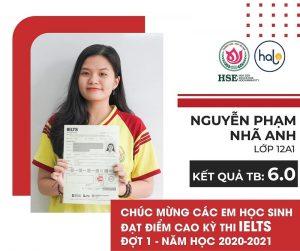 Bạn Nguyễn Phạm Nhã Anh lớp 12A1 đạt IELTS 6.0