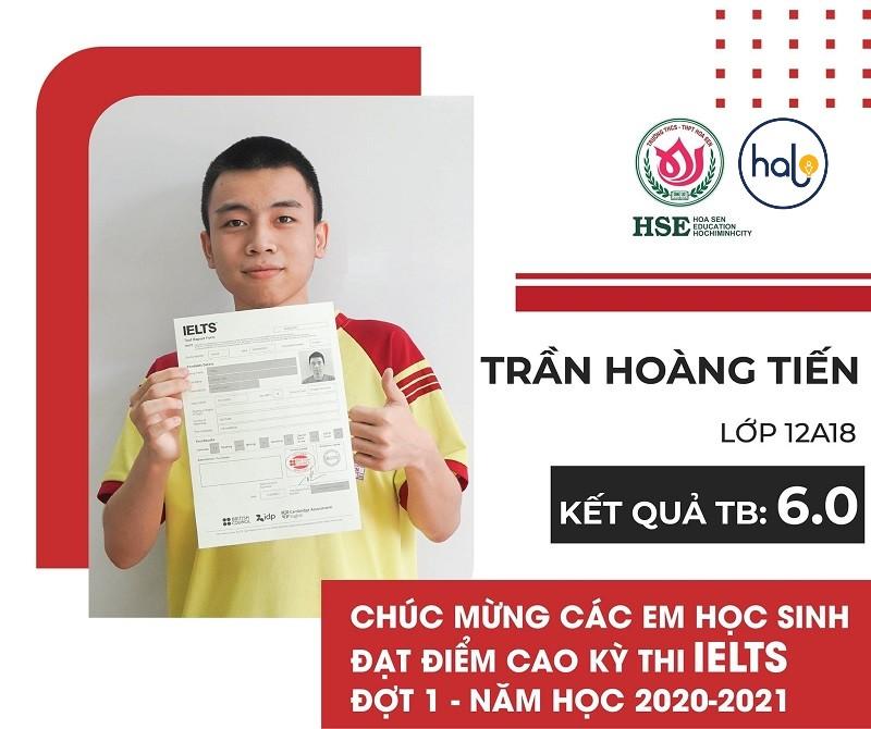 Bạn Trần Hoàng Tiến lớp 12A18 đạt IELTS 6.0