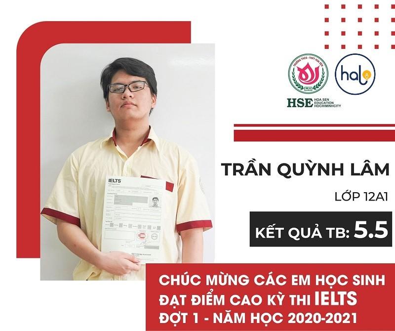 Bạn Trần Huỳnh Lam lớp 12A1 đạt chứng chỉ IELTS 5.5