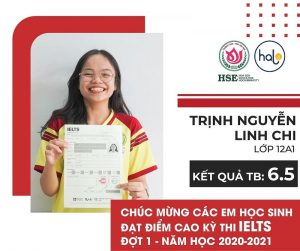 Bạn Trịnh Nguyễn Linh Chi lớp 12A1 đạt chứng chỉ IELTS 6.5