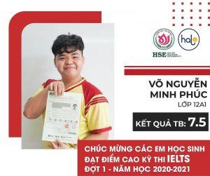 Bạn Võ Nguyễn Minh Phúc lớp 12A1 đạt IELTS 7.5