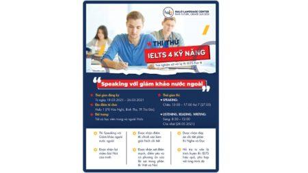 Lịch Thi Thử IELTS Tháng 3 - 2021